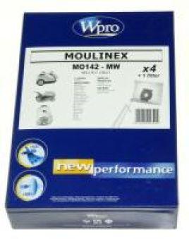 SAC MICROFIBRE WPRO MOULINEX /4 SACS + 1 FM FERMETURE PROPR