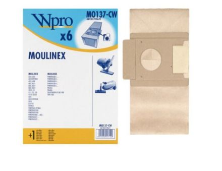 MO137CW SAC WPRO BOÎTE adaptable sur MOULINEX / 6 SACS + 1 MF