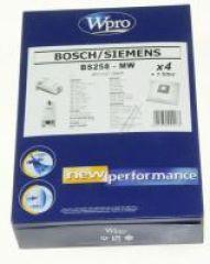 BS258-MW SAC MICROFIBRE WPRO BOSCH, adaptable sur SIEMENS / 4 SACS + 1 FM FERMETURE