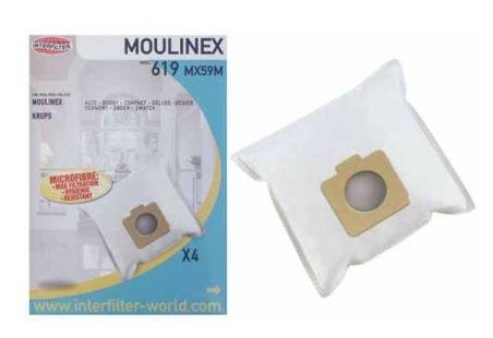 619 SACS ASPIRATEUR (X4) MICROFIBRE POUR MOULINEX